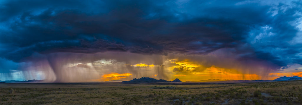 Panorama Photograph of sunset and storm in Utah's West Desert